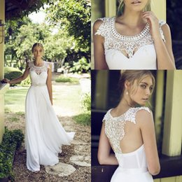 Robe De Fête En Mousseline D'ivoire Pas Cher-Cheap Riki Dalal 2016 Lace Jewel Neck Robes de Mariée pour Beach Wedding Party avec Backless Ivory Chiffon Beaded Ribbon Long Robes de Mariée
