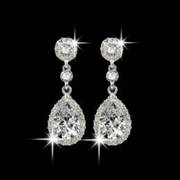 Shining Fashion Crystals Earrings Silver Rhinestones Long Drop Earring For Women Bridal Jewelry 5 Colors Wedding Gift For Friend on Sale