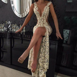 Gray lace front online shopping - Lace Deep V Neck Evening Gowns Sparkly Beaded Sheer Backless Mermaid Prom Dresses See Through Sweep Train Party Vestidos Custom Made
