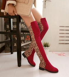 Knights Boots NZ - Origial Brand Winter Women Warm All-match Snow Boots Women High Quality Suede Knight Boots Female Outdoor Warm Leopard Thigh-High Boots