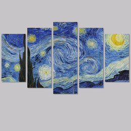 $enCountryForm.capitalKeyWord UK - Big size Impressionist decoration Van Gogh The Starry Night wall art picture poster star Canvas Painting living room unframed
