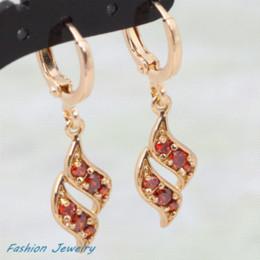 $enCountryForm.capitalKeyWord Canada - New 2016 gift Top quality Swiss CZ 18K gold plated red cubic zirconia earrings fashion jewelry E117