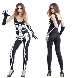 Female Vampire Halloween Costumes Canada - Female Skeleton vampire Halloween devil with ds nightclub bar stage performance clothing skulls Siamese costumes