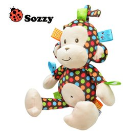 baby monkey plush toys wholesale Canada - Free DHL Plush Baby Toy Sozzy Baby Rattle Toys Monkey Pull Bell Plush Toys Infant music box car hanging bed hanging bell