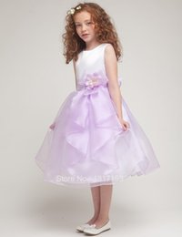 $enCountryForm.capitalKeyWord Canada - Princess Baby Ball Gown Kids Pageant Dresses White Lavendar Mid-calf Flower Girl Dress Kids Evening Gowns Children Prom Dress