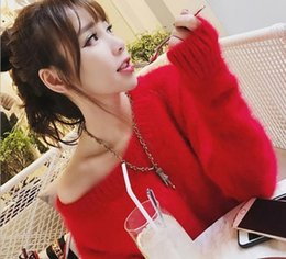 online shopping Sexy new autumn and winter word collar dew shoulder mohair loose sweater women s hair in the long section of the Korean mink sweater