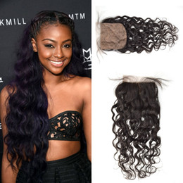 Water Knots Canada - Malaysian Water Wave Silk Base Closure Unprocessed G-EASY Virgin Human Hair Silk Closures Free Middle 3 Part Hidden Knot 4x4Inch