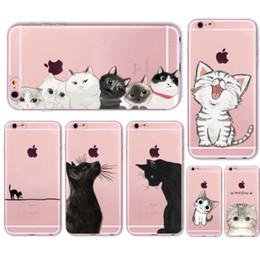 Venta al por mayor de Lindo gato cubierta de la caja para Apple iPhone 6 6s 7 Plus transparente de silicona suave del teléfono celular Capa Capa casos