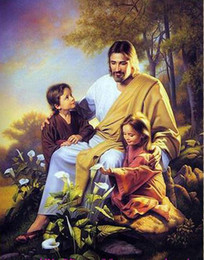 Painting Christ Canada - Christ Jesus and Two Kids ,Genuine High Quality Handpainted Art oil Painting On Thick Canvas Museum Quality in any size chosen