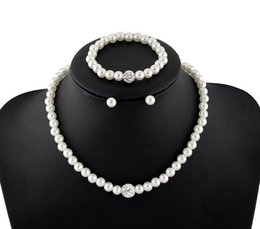 Discount pearl jewelry set price - Cheap Price Natural White Pearl Rhinestone Disco Ball Necklaces Bracelets Earrings Jewelry Sets Women Fashion Gifts Jewe