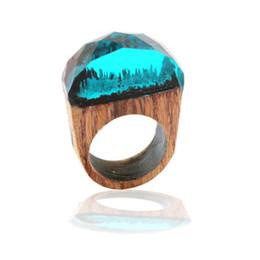 $enCountryForm.capitalKeyWord UK - Fashion Women Resin Wood Rings Magic Forest Wooden Ring Men Jewelry Handmade undersea Blue Miniature World Inside Ring
