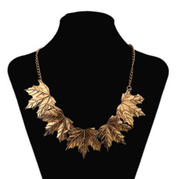 Jewelry Maple Gold Plate Canada - Vintage Maple Leaf Pendant Necklaces Women Maxi Alloy Clavicle Necklace Plated Gold Sweater Chains New Fashion Jewelry Statement