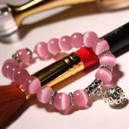 Japanese models female online shopping - Japanese and Korean Version of The Powder Cat s Eye Single Ring Female Bead Bracelets Couple Models Pink Crystal Bracelet Jewelry