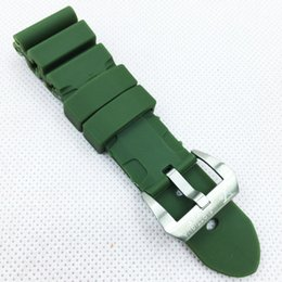 $enCountryForm.capitalKeyWord UK - 26mm 120mm 75mm Good quality Fashion Green Rubber Strap Band Screw Silver Tang Buckle For PAM LUNMINOR RADIOMIR