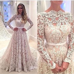 Full Length Robe Soiree Canada - Robe De Soiree 2017 Sexy Full Lace Backless A-line Long Sleeves Wedding Dresses Bateau Neck Court Train Bridal Gowns with Belt Custom Made