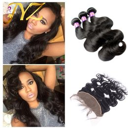 18 inch wavy remy hair online shopping - Lace Frontal Closure With Bundles Cheap Weft and Wavy Raw Indian Virgin Body Wave Remy Human Hair Weaves With Frontal Closures