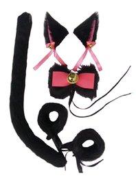 Draht innen handgemachte Kunstfell Katze Schwanz Armband Fliege Haarspangen Set sexy 1