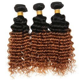 Toning Machines For Hair UK - Beauty Honey Blonde Hair Bundles Deep Curly Hair Weaves 3 Pcs Lot #1B 30 Two Tone Hair Extensions For Black Woman