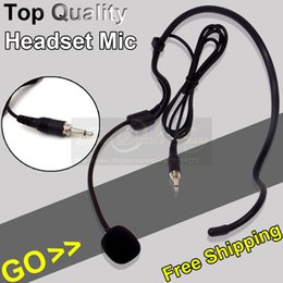 ear connector NZ - Free Shipping 3.5mm Screw Thread Plug Connector Wired Condenser Headset Microphone Head Worn Ear Hook Mic For FM Wireless Device Karaoke