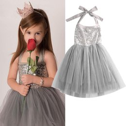 Filles Robes De Fantaisie Argent Pas Cher-2016 Baby Children Girl Sequins Tulle Cute Robe Habillement Silver Party Gown Fancy Dresses Birthday Gift Girl Clothing Summer
