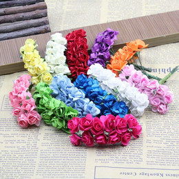 Purple Rose Clothing Canada - 12pcs set Silk Flower Rose Plum Blossom Flower Bouquet Clothing hat wedding Decorative flower garlands Flower heads 0.6inch
