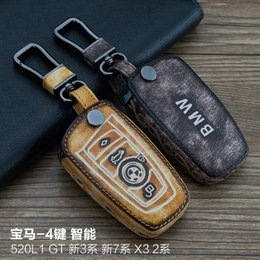$enCountryForm.capitalKeyWord Canada - High Quality For BMW 520L1 GT X3 4 Buttons Smart 100% Genuine leather Graffiti Remote Control Car Keychain key cover Auto Accessories