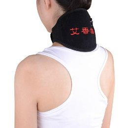 Wholesale Health Care Adjustable Wormwood Far Infrared Magnetic Heating Therapy Pain Relief Neck Wrap USB port High elasticity Relaxation