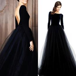 39003d384 Stunning Long Sleeve Evening Gowns Velvet Dresses Black Prom Party Dress  Bateau Neck Open Back Tulle Skirt Floor Length Formal Wear Sleeves