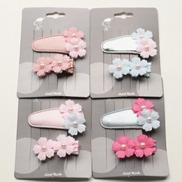 Barato Clipes De Dupla Flor-10sets / Lot Pu Leather Modish Girls Mini Floral Gauze Pink Pearls Hair Clip Double Flower Small Size Kid Hairpins Coreano importado