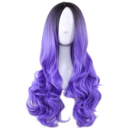Ombre Wigs For Cheap UK - Long Cheap Cospaly Wig Harajuku Lolita Wig Black Ombre Purple Body Wave Synthetic Hair Mix Color Wigs for Women Synthetic Wig