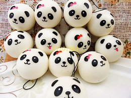 Discount panda cell phone charm - 500pcs lot Free Shipping 4cm Jumbo Panda Squishy Charms Kawaii Buns Bread Cell Phone Key Bag Strap Pendant Squishes lany