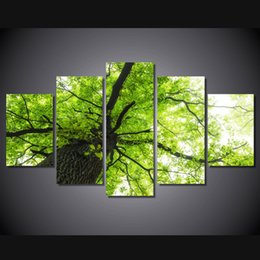 $enCountryForm.capitalKeyWord UK - 5 Panel HD Printed tree branch green leaves Painting Canvas Print room decor print poster picture canvas wall pictures