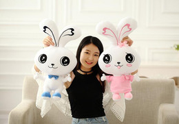 toy souvenirs NZ - Couple tie 80cm rabbit plush toys large white rabbit doll Souvenir Valentines Day gifts to send girls free shipping