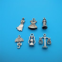 $enCountryForm.capitalKeyWord UK - Mixed Tibetan Silver Lighthouse Umbrella Clothes Tianping Kerosene lamp Charms Pendants Jewelry Making Bracelet Fashion Jewelry Accessories