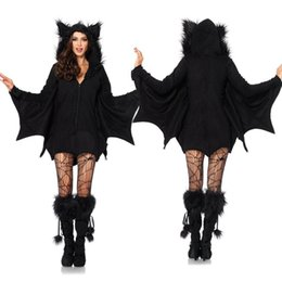 Barato Roupa Preta Das Mulheres Da Forma-Moda Devil Halloween Outfit Cosplay Costumes Dress Bats roupas Scary Black Fanny Dress Up Party Costume For Women
