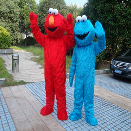 tv adults free Canada - Sesame Street Blue Cookie Monster Mascot blue Elmo costume Fancy Dress Adult size Halloween free shipping