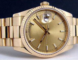 Dial Box Canada - Luxury Swiss Men Automatic President Gold Stainless Steel Day Date Watches Dial Best Price Business Mens Mechanical Movement Wrist Watch Box