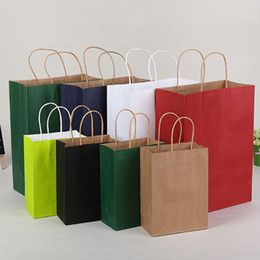 boutique paper gifts bags 2019 - 21*11*27cm Kraft Paper Bag With Handle Festival Gift Wrap Package Party Gift Boutique Garment Shopping Bags ZA4377 disco