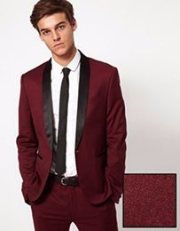 Barato Calças Vermelhas Escuras-Venda por atacado - New Arrival Dark Red Mens Tuits Groom Tuxedos Groomsmen Wedding Party Dinner Best Man Tuits Blazer (Jacket + Pants + Tie) K: 1996