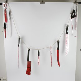 horror spooky halloween props scary saw bloody knives hanging garland pennant banner party haunted house decoration sw0260 cheap spooky halloween - Discount Halloween Decor