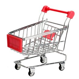 mini shopping toys Canada - Mini Shopping Cart Supermarket Handcart Storage Toys Phone Holder Children Shopping Cart Toy Home Organizer