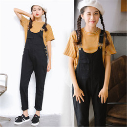 Combinaisons Taille Haute Taille Pas Cher-Vente en gros - 2017 Summer New Rompers Black Denim Harajuku Patchwork Vintage Casual Loose Poches Femmes High Waist Jeans Overalls Pants