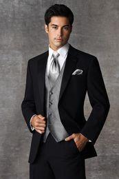 $enCountryForm.capitalKeyWord Canada - High Quality Two Buttons Black Groom Tuxedos Notch Lapel Groomsmen Mens Wedding Dresses Prom Suits (Jacket+Pants+Vest+Tie) H471