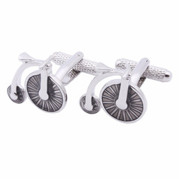 Chinese  1 Pair Discount Retail Unique Bike Big & Small Wheel Retro Bike Design Men's Fashion Accessories Cuff links manufacturers