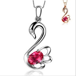 Chinese  White Gold Plated 925 Sterling Silver Fashion Fine Jewelry Swan AAA+ CZ Diamond Crystal Swan Pendant Necklace For Women manufacturers