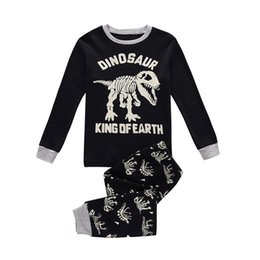 Childrens Camisas Negras Baratos-2017 Boys Childrens Clothing Sets Dinosaur Black T-shirts Tops Pants 2 Unids Conjunto Primavera Otoño Boy Kids Home Boutique Enfant Ropa Conjuntos