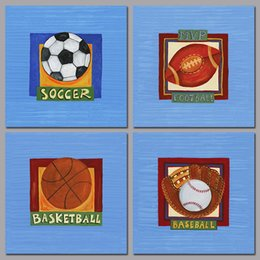 blue wall art picture Australia - Sports 4pcs soccer football basketball baseball decoration wall art picture sky blue Canvas Painting for living room unframed