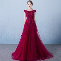 Barato Vestido De Noiva Roupa-Robe De Soiree Banquete Elegant Evening Dress The Bride Wine Red Lace Flower Beading Long Party Prom Dresses Custom