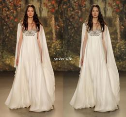 Discount jenny packham dress plus size - Empire Waist 2019 Maternity Beach Long Wedding Dresses Scoop Neck Beaded Crystal Chiffon Plus Size Long Boho Bridal Gown