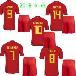 8bb16d9aff3 2018 Belgium E.HAZARD kids soccer jersey 17 18 LUKAKU home red FELLAINI  KOMPANY DE BRUYNE children Belgium kids kits Football shirt